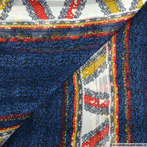 Mousseline crinkle imprimée tacheté fond bleu