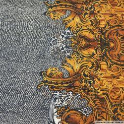 Mousseline imprimé mode royale ambre et gris