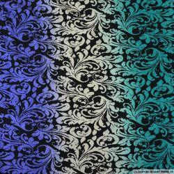 Jersey imprimé fleurs de lys violet et vert