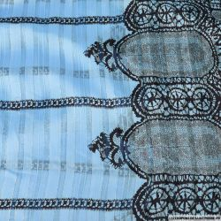 Mousseline bande satin lurex dentelle des rois fond bleu