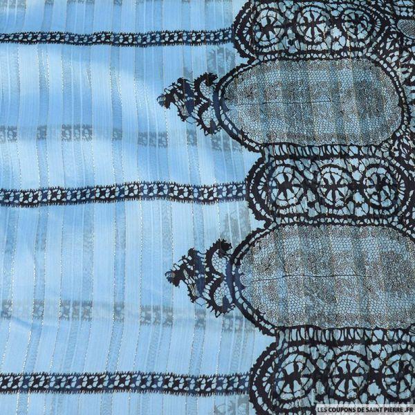 Tissu Dévorée rayé irisé monstera fond bleu