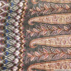 Mousseline bande satin lurex aztèque et cachemire fond gris