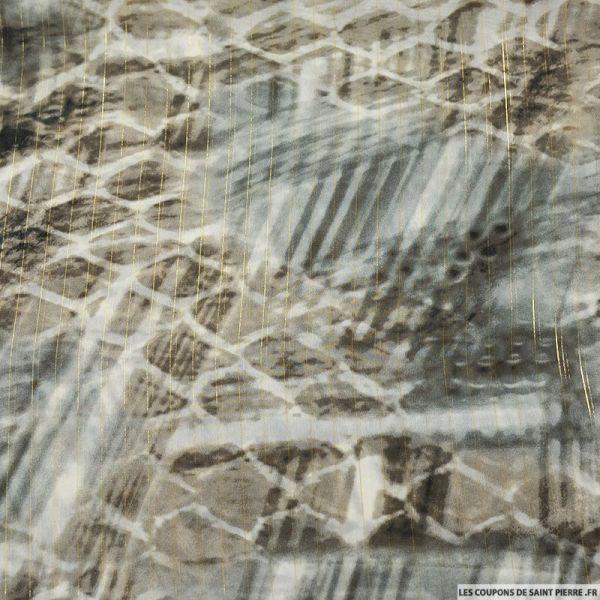 Mousseline rayé irisé écailles reptiliennes grège