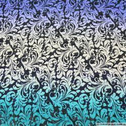 Crêpe georgette imprimé fleurs de lys multicolore bleu