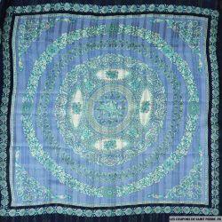 Tissu Dévorée imprimé panneau de Versailles bleu