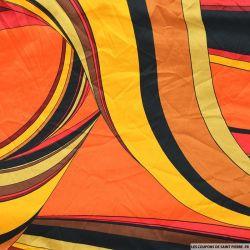 Satin de polyester imprimé rythmique colorée