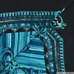 Mousseline imprimé arabesque chevronné bleu