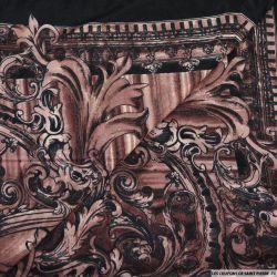 Jersey imprimé arabesque chevronné vieux rose