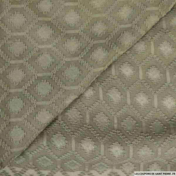 Dévoré polyester alvéole kaki