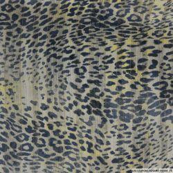 Mousseline bande satin lurex léopard fond beige