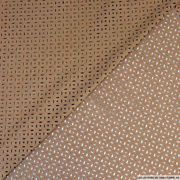 Faux daim perforé polyester marron