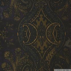 Jean's coton imprimé fantaisie doré et violet