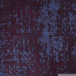 Jean's coton floqué abstrait lie de vin fond bleu