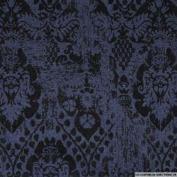 Jean's coton floqué arabesque noir fond bleu