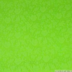 Jean's jacquard coton elasthanne fleurs vert fluo