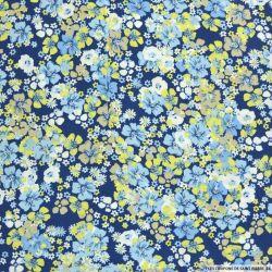 Viscose imprimée hibiscus bleu fond marine