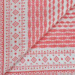 Voile de coton imprimé jolly rouge fond blanc