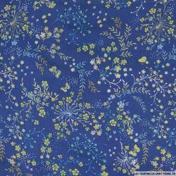 Viscose imprimé champêtre fond bleu