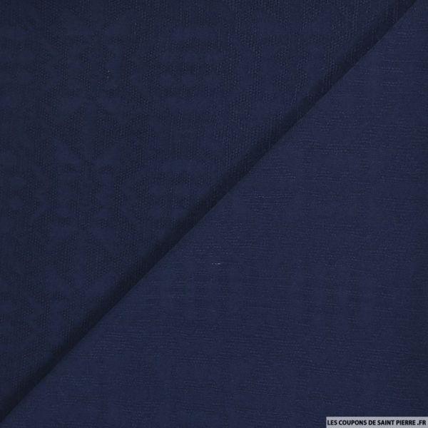 Jacquard viscose ajouré aztèque bleu marine