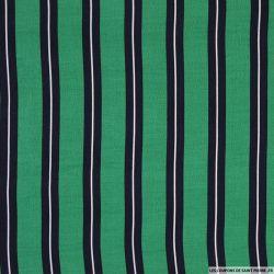 Viscose imprimée double rayure vert blanc et bleu nuit
