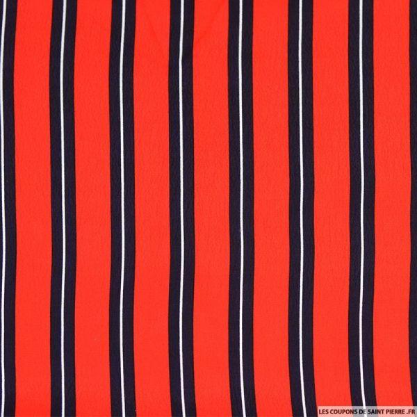 Viscose imprimée double rayure rouge blanc et bleu nuit