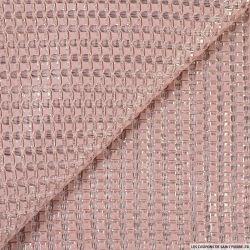 Tissu résille rose ajouré