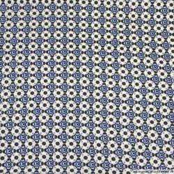 Microfibre polyester imprimée mosaïque bleu et or fond écru