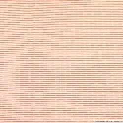 Coton tissé rayé orange et blanc