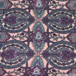 Crêpe lourd polyester imprimé oriental rose