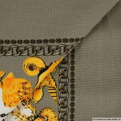 Maille imprimée coquillage fond beige
