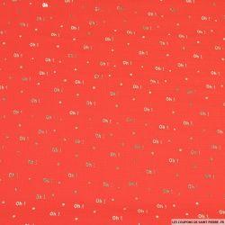 Crêpe imprimé texturé Oh! doré fond corail