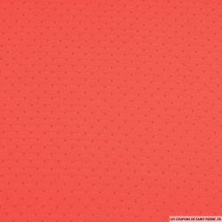 Voile polyester plumetis rouge corail