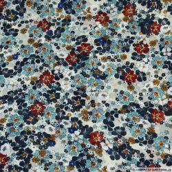 Mousseline crinkle imprimée fleurs du temps écru