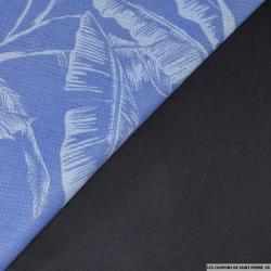 Jean's coton imprimé plume fond bleu