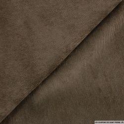 Velours polyester côtelé marron taupe