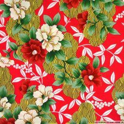 Coton imprimé Seigaiha et fleurs fond rouge