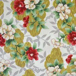Coton imprimé Seigaiha et fleurs fond blanc