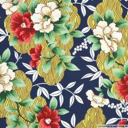 Coton imprimé Seigaiha et fleurs fond marine