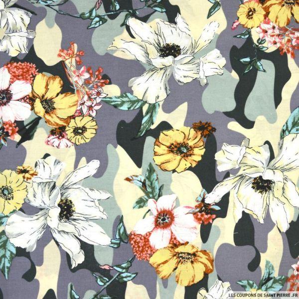 Coton imprimé camouflage et fleurs fond vert et ardoise