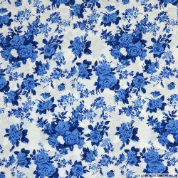 Coton imprimé bouquet floral blanc