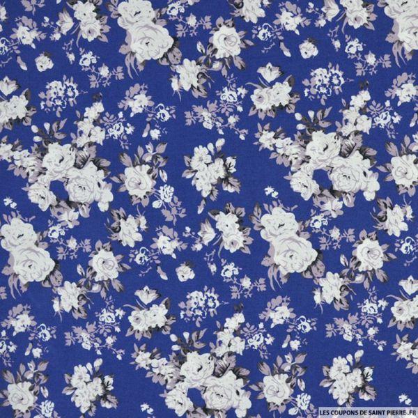 Coton imprimé bouquet floral bleu