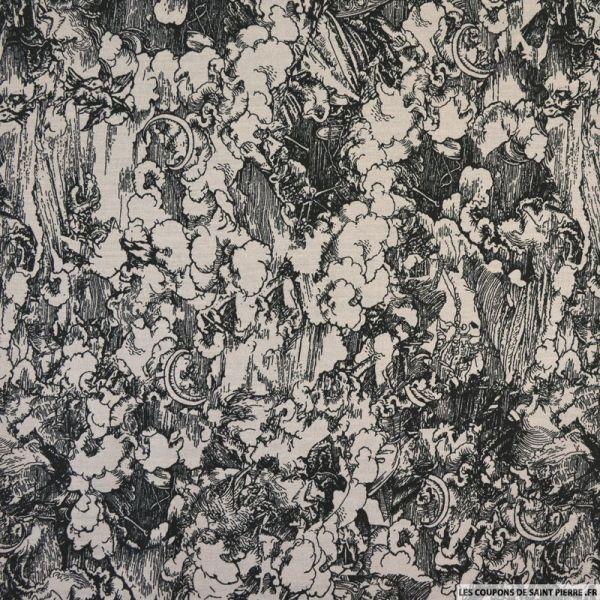 Coton imprimé antique fond gris