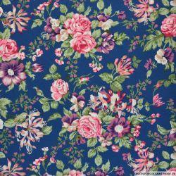 Coton imprimé champêtre feuille fond bleu