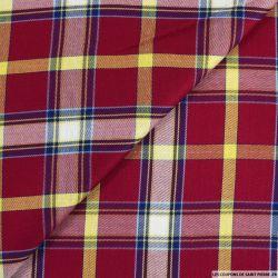 Viscose à carreaux irisé rouge, bleu et jaune