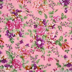 Coton imprimé champêtre feuille fond rose