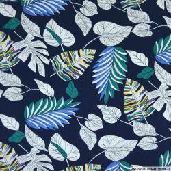 Coton imprimé herbier fond marine