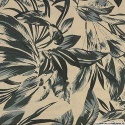 Coton imprimé plante du voyageur kaki