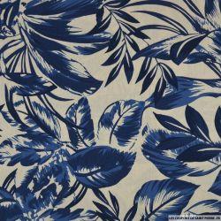 Coton imprimé plante du voyageur bleu