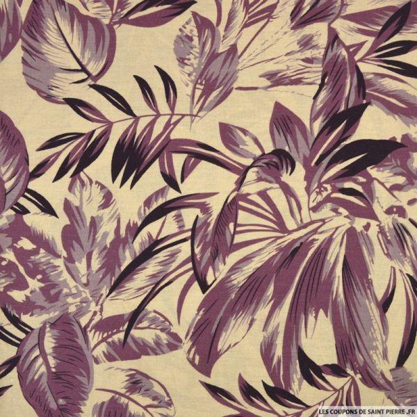 Coton imprimé plante du voyageur violet