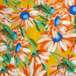 Coton imprimé tournesol fond orange